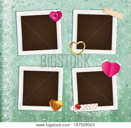 Collage photo frame on vintage background. Album template for kid, baby, family or memories.Scrapbook concept, vector illustration.