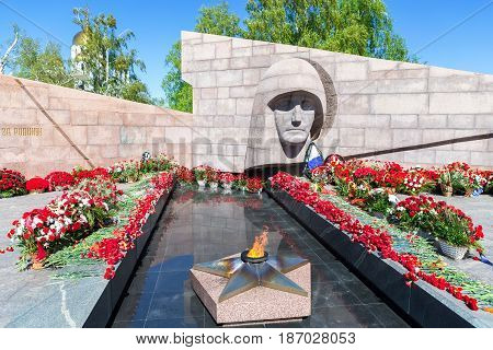 Samara Russia - May 14 2017: Eternal flame and flowers in memory of the Victory in the Great Patriotic War