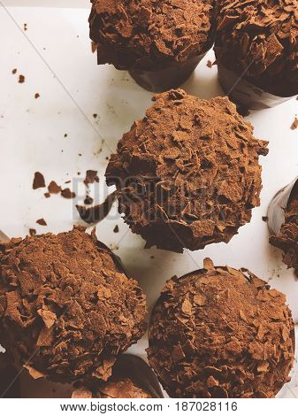 Chocolate cupcakes, top view.