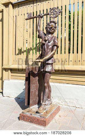 Samara Russia - May 14 2017: Bronze sculpture of Buratino (Pinocchio) fairy tale character of Alexei Tolstoy story