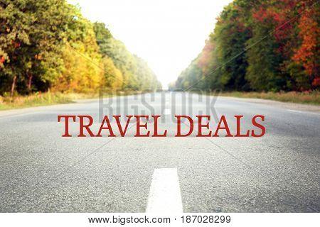 Travel deals concept. Beautiful landscape background
