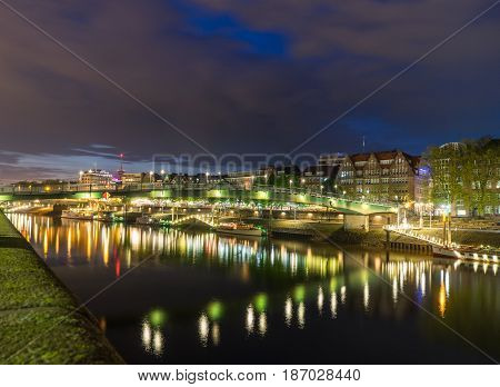 Cityscape of Bremen in a summer night