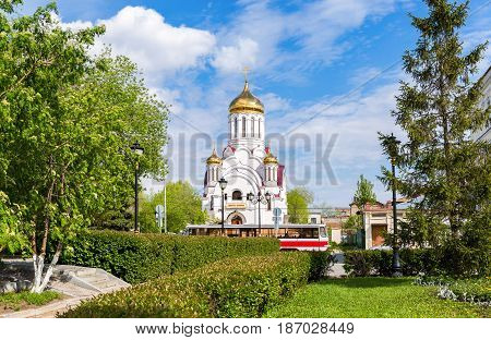 Samara Russia - May 14 2017: Orthodox church in honor of the icon of the Mother of God Derzhavnaya in Samara Russia