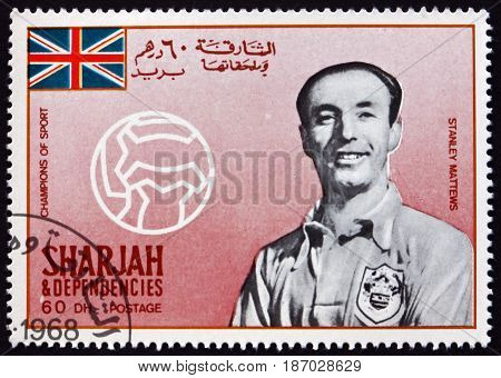 SHARJAH - CIRCA 1968: a stamp printed in Sharjah UAE shows Sir Stanley Matthews Famous Soccer Player circa 1968