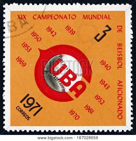 CUBA - CIRCA 1971: a stamp printed in Cuba dedicated to 19th World Amateur Baseball Championships circa 1971