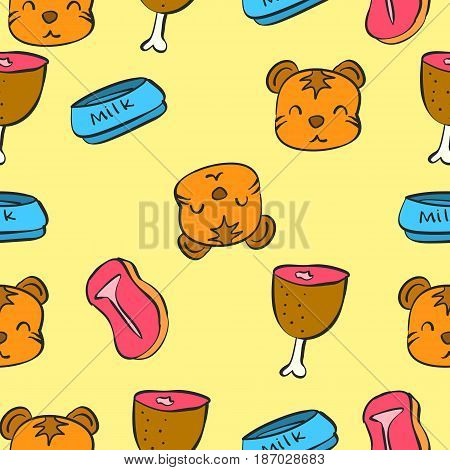 Pattern cute cat colorful collection vector art