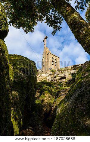 Guimarães Portugal - November 23 2014 :View of the church of Nossa Senhora da Penha through the cliffs in Guimarães portugal