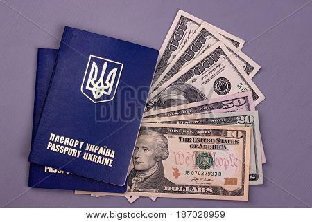 International Ukrainian Passport With Us Dollars Isolated On Gray Background.