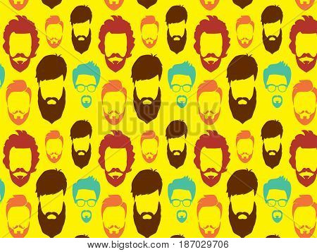 Bearded Hipster pattern with glasses.Urban Lumberjack background.