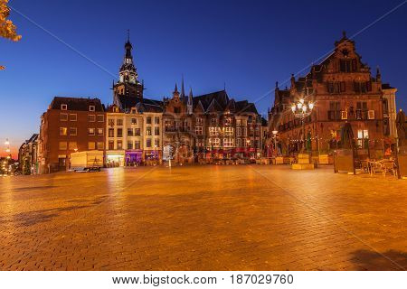 Cityscape of Nijmegen squre city center at dusk twilight the netherlands