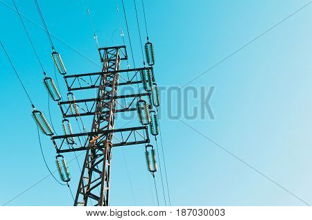 Power line support with high voltage wires