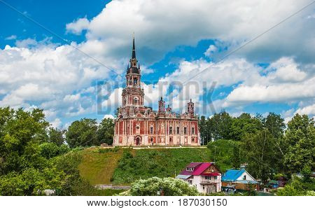 Novo-Nikolsky Cathedral is Orthodox church in Mozhaisk, Moscow Region. High building on hill in pseudo-Gothic style