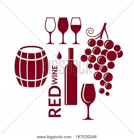 Red wine. Icon set. Abstract wine elements on white background
