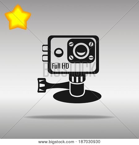 action camera black Icon button logo symbol concept high quality on the gray background