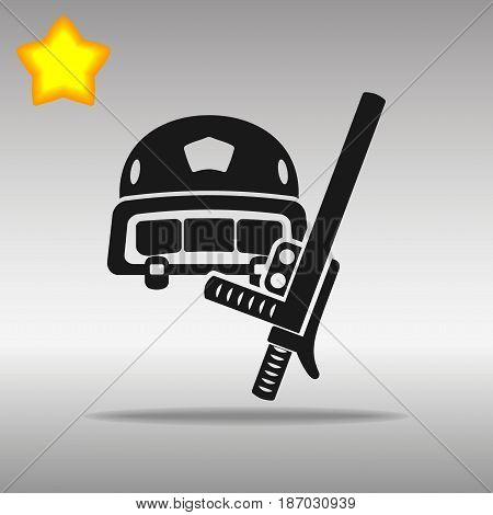 Police helmet and stick black Icon button logo symbol concept high quality on the gray background