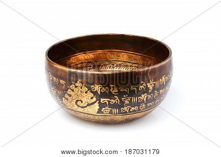 Tibetan bowl isolated on a white background.