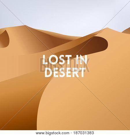 square blurred yellow background - Desert dunes sunset landscape. Lost in desert