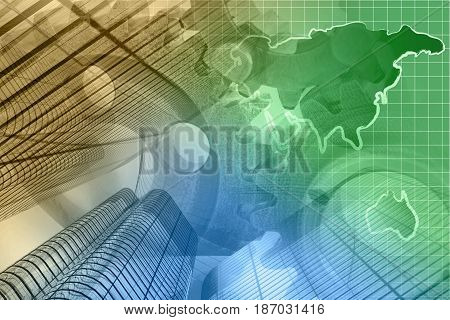 Business background with map buildings and gears toned.