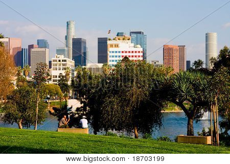 Los Angeles downtown next to a lake