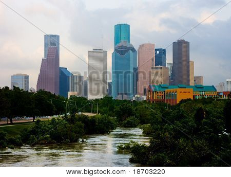 Houston downtown on a cloudy day
