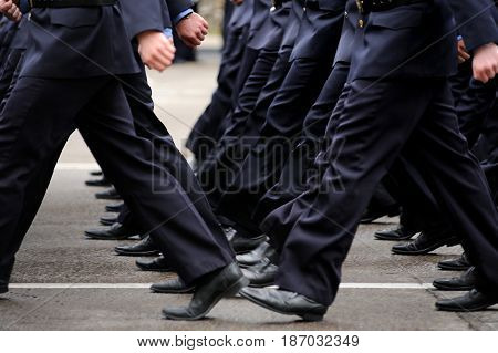 Orel Russia - May 9 2017: Victory Day selebration. Military men marching in row closeup