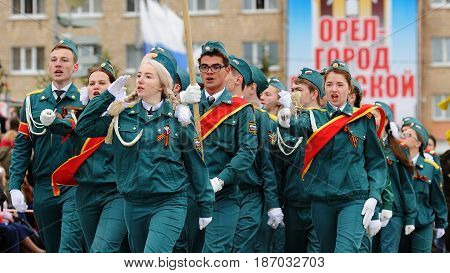 Orel Russia - May 9 2017: Victory Day selebration. Young people in cadet uniform marching in row