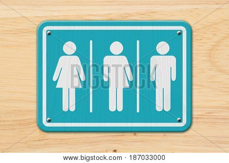 All inclusive transgender sign Teal and white sign with a woman a transgender and man symbol on wood 3D Illustration