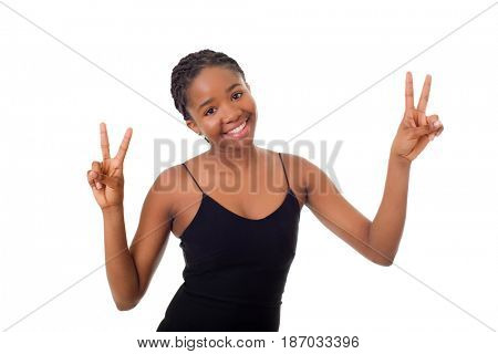 young african woman winning, isolated on white background