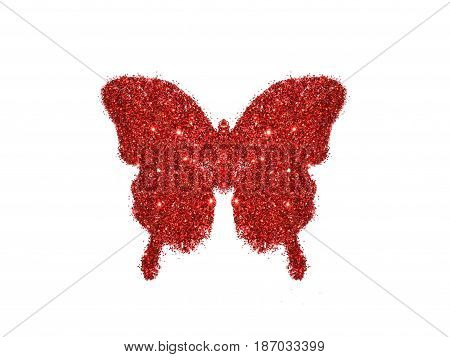 Butterfly of red glitter on white background, icon for your design