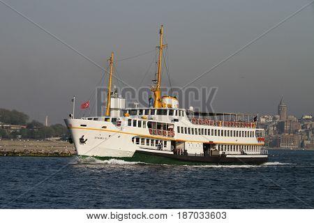 ISTANBUL TURKEY - APRIL 30 2017: Sehir Hatlari ferry in Bosphorus Strait. Sehir Hatlari was established in 1844 and now carry 150000 passengers a day.