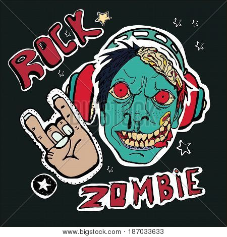 Cute embroidery patches and stickers collection. Vector hand drawn badges. Zombies in headphones rock and roll symbols