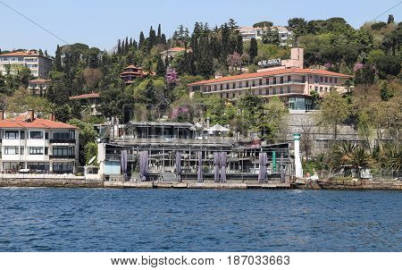 ISTANBUL TURKEY - APRIL 29 2017: Reina Nightclub in Bosphorus Strait side. At least 39 people have been killed in an attack during new year celebrations.