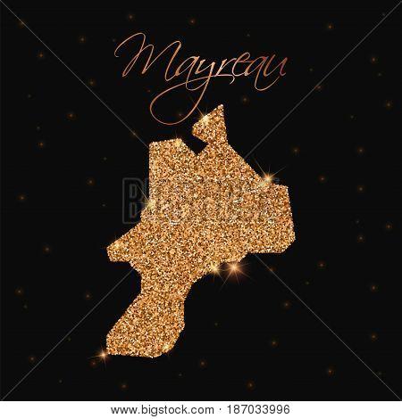 Mayreau Map Filled With Golden Glitter. Luxurious Design Element, Vector Illustration.