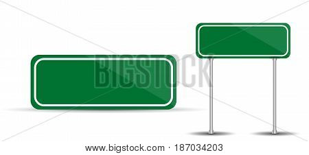Road Sign Isolated on White Background Blank green traffic. Vector Illustration. EPS10