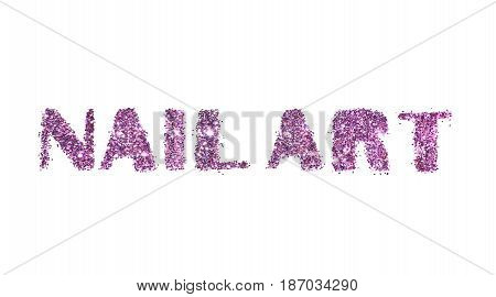 Words Nail Art of purple glitter on white background