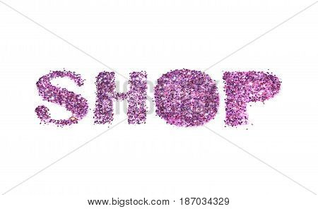 Word Shop of purple glitter on white background