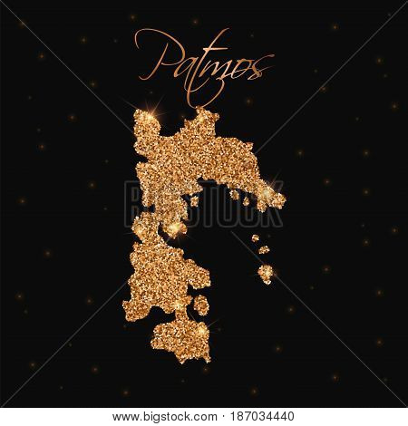 Patmos Map Filled With Golden Glitter. Luxurious Design Element, Vector Illustration.