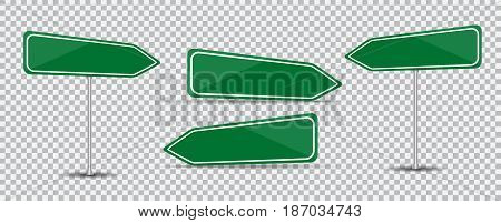 Road Sign Isolated on transparent background Blank green arrow traffic. Vector Illustration. EPS10