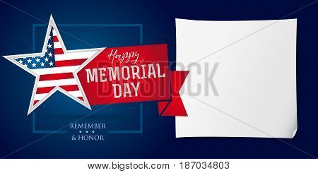Happy Memorial Day greeting card with star in national flag colors. Memorial day remember & honor banner template. Vector illustration