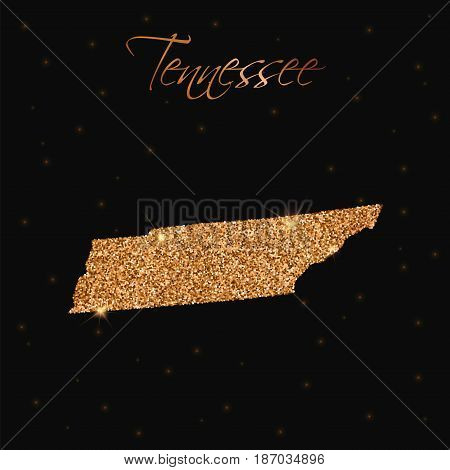 Tennessee State Map Filled With Golden Glitter. Luxurious Design Element, Vector Illustration.