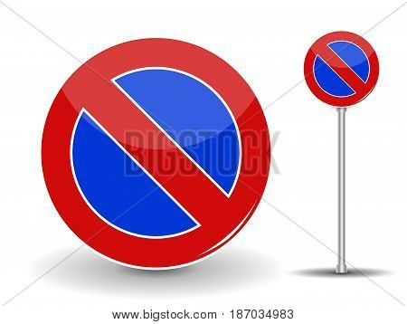 Prohibiting parking. Red and Blue Road Sign. Vector Illustration. EPS10