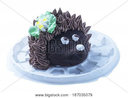 Beautiful cake in form of the hedgehog insulated on white background