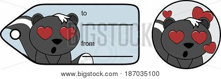 inlove little skunk cartoon gift card in vector format