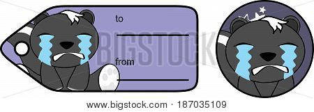 crying little skunk cartoon gift card in vector format