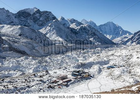View Over The Gorak Shep Village From Kala Patthar Near The Everest Base Camp, Himalayas, Nepal. Sma