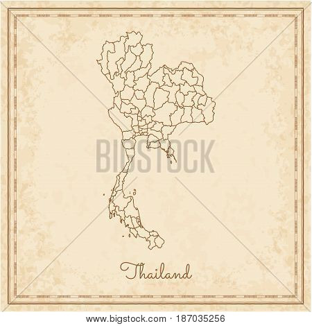 Thailand Region Map: Stilyzed Old Pirate Parchment Imitation. Detailed Map Of Thailand Regions. Vect