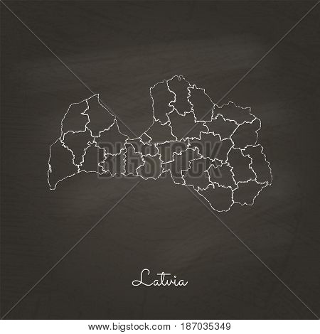 Latvia Region Map: Hand Drawn With White Chalk On School Blackboard Texture. Detailed Map Of Latvia