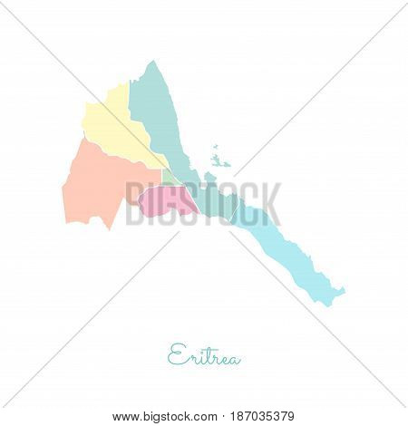 Eritrea Region Map: Colorful With White Outline. Detailed Map Of Eritrea Regions. Vector Illustratio