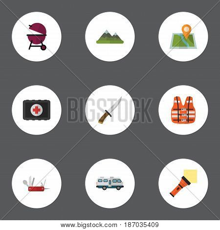 Flat Hill, Lighter, Jacket And Other Vector Elements. Set Of Encampment Flat Symbols Also Includes Caravan, Penknife, Pin Objects.