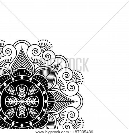 Asian culture inspired  wedding makeup mandala henna tattoo decoration flower shape made out of leaves, hearts in  black ans white symbolizing happiness, love and spiritual life , zen , inner peace